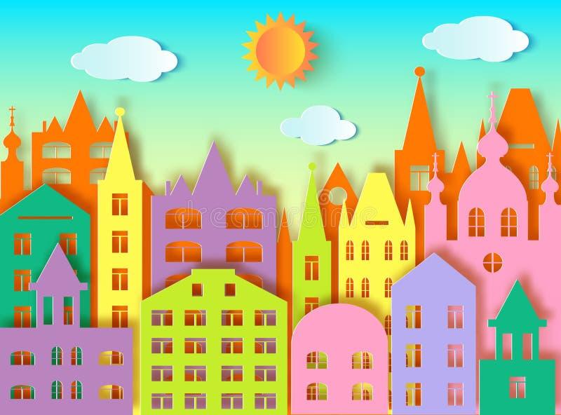 Duzi miasto, słońce i chmury, ilustracja wektor