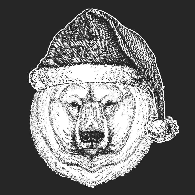 Duzi niedźwiedzi polarnych boże narodzenia, nowego roku świętowanie Święty Mikołaj zimy kapelusz Xmas pióropusz royalty ilustracja