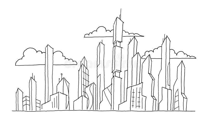 Duzi przyszłościowi miasto drapacza chmur nakreślenia wieżowowie Ręka rysująca wektoru zapasu kreskowa ilustracja nowoczesna arch royalty ilustracja