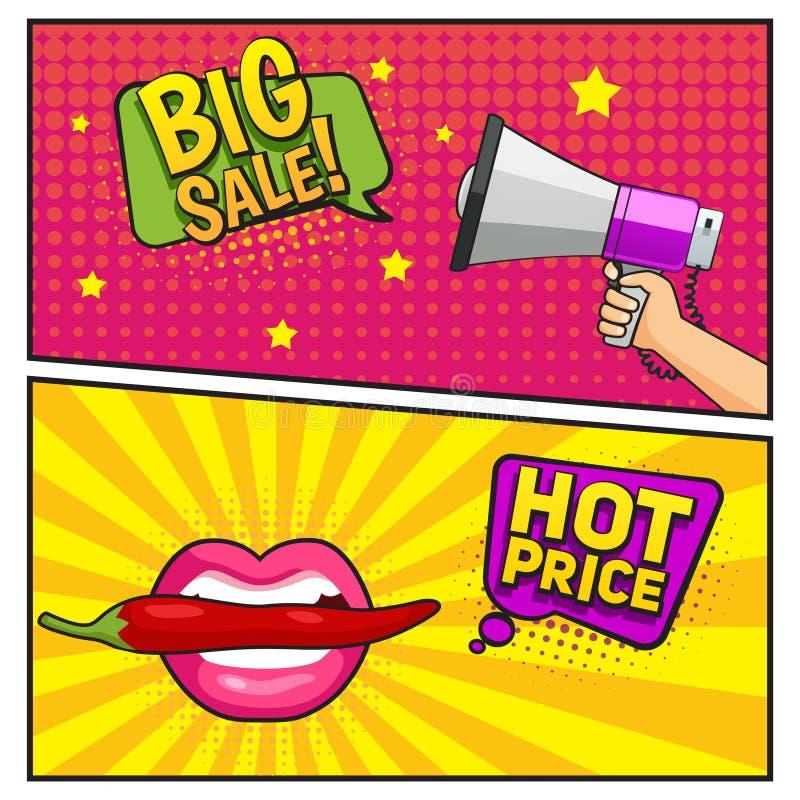 Duzi sprzedaży komiczki stylu sztandary ilustracja wektor