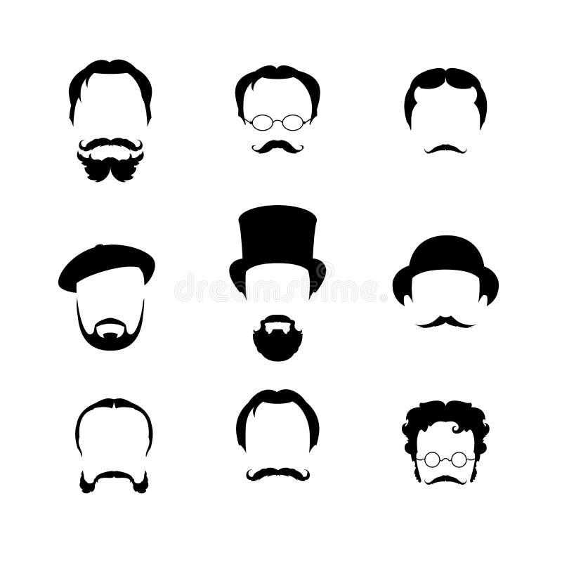 Duzi ustaleni ostrzyżenia, szkła, broda, wąsy royalty ilustracja
