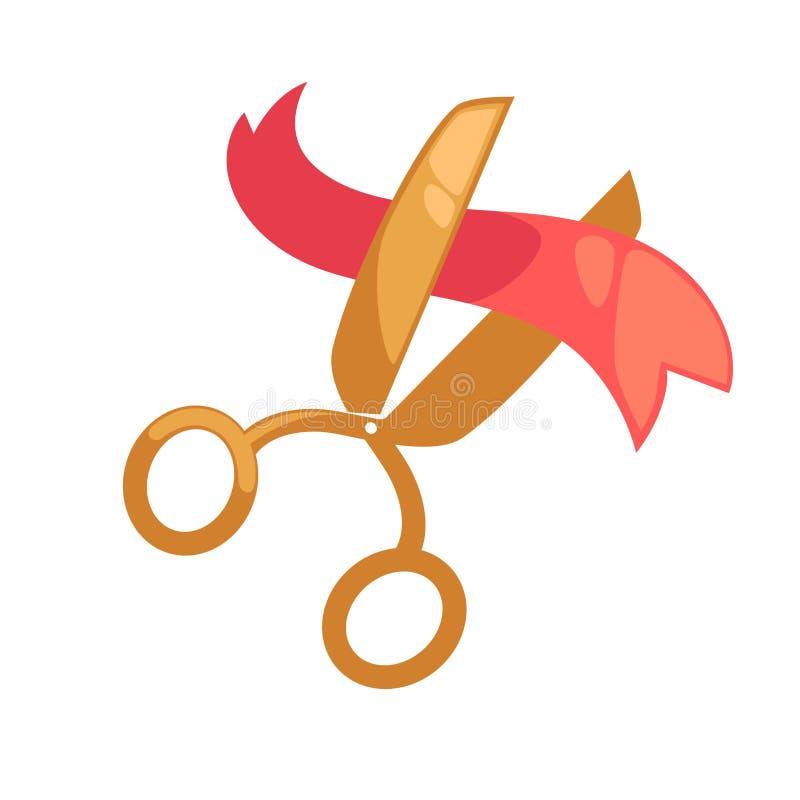 Duzi złoci nożyce cią mały czerwony faborek odizolowywającą ilustrację ilustracji