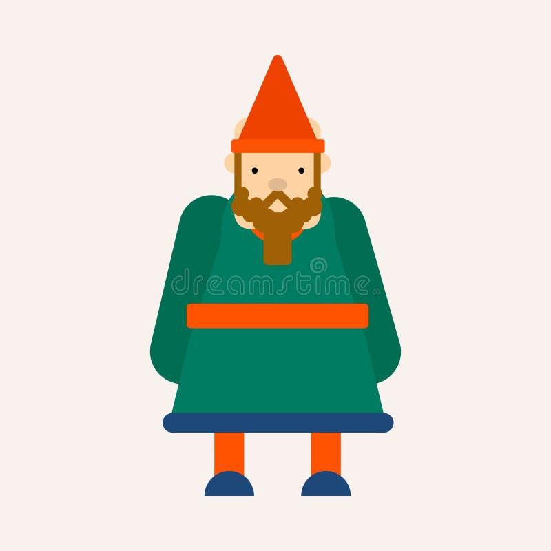 Dvärg eller gnom i isolerat manligt tecken för kottehatt saga royaltyfri illustrationer