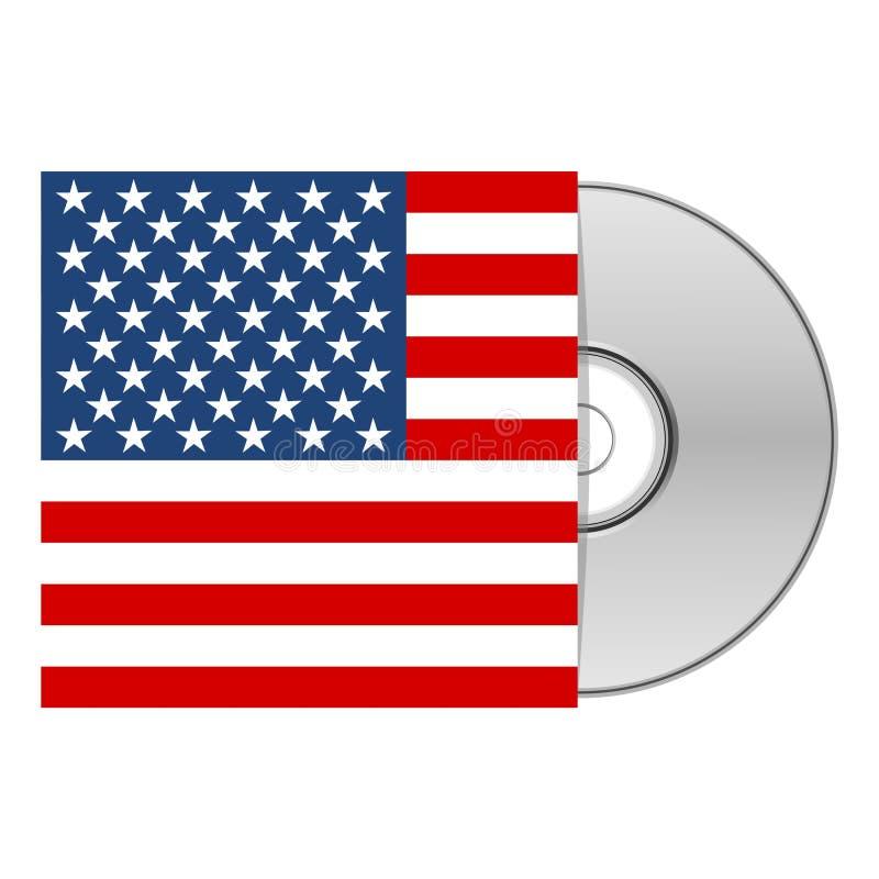 DVD或CD的盒与美国美国旗子 皇族释放例证