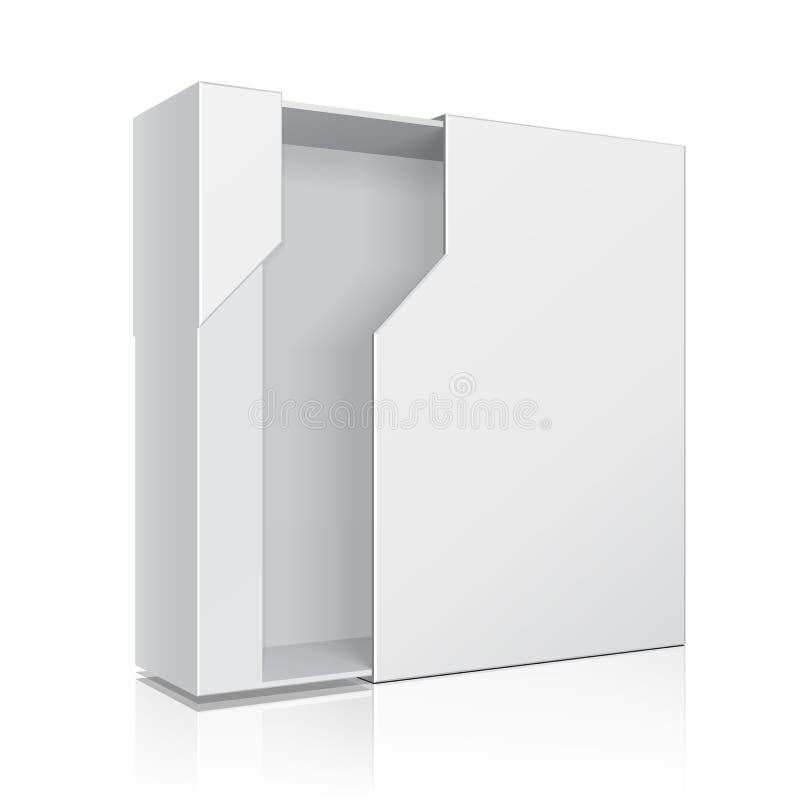 DVD的被打开的现代软件包箱子, CD的盘您的产品 嘲笑,模板 背景查出的白色 皇族释放例证