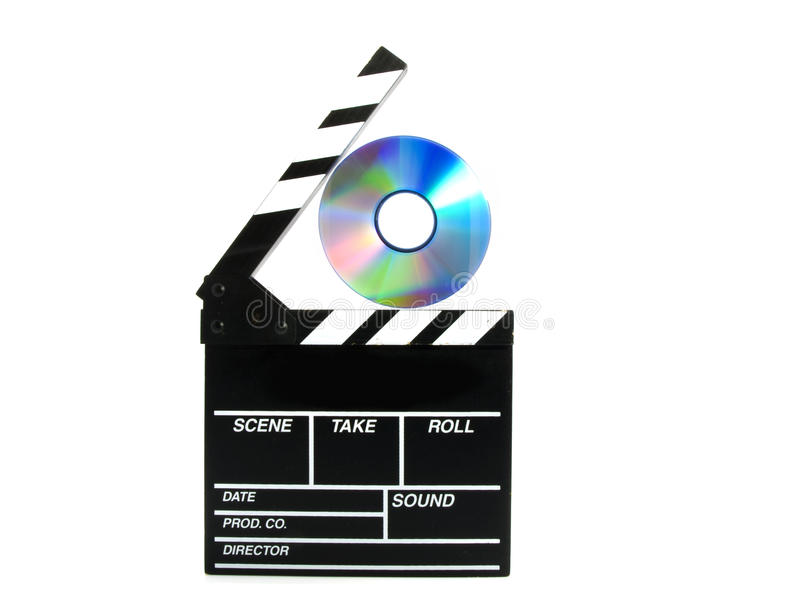 Dvd action board. Clipping board holding a dvd isolated on a white background stock images