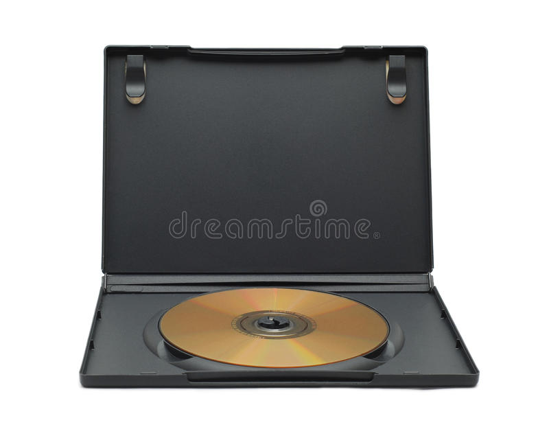 Dvd case. Dvd with case isolated on white stock photography