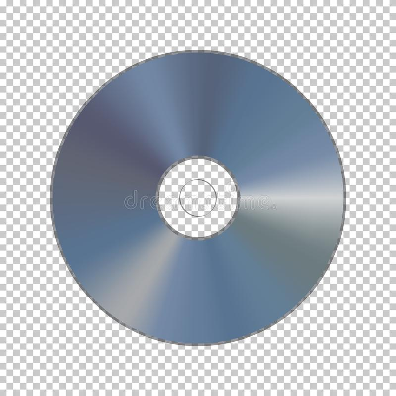 DVD or CD disk on transparent background. Vector. stock illustration