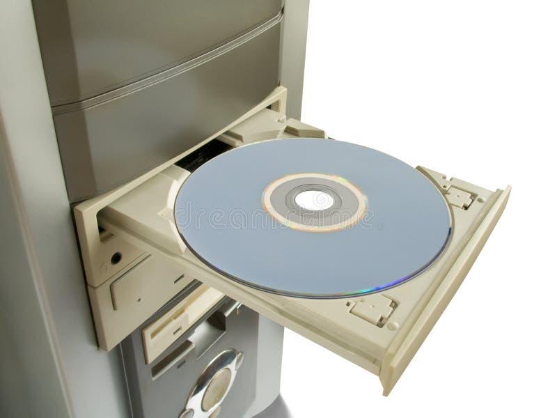 Dvd, cd Platte im geöffneten Laufwerk lizenzfreies stockfoto