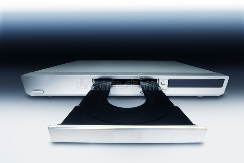 DVD/CD Player. DVD Player in design light and opened doors royalty free stock image