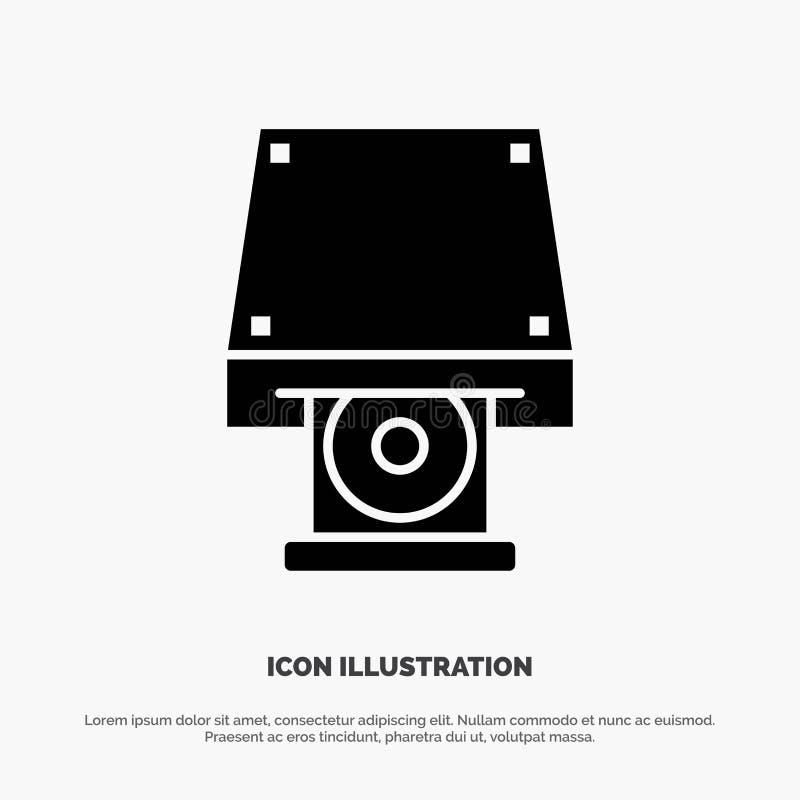 Dvd, CDROM, dane magazyn, dysk, Rom glifu ikony stały wektor royalty ilustracja