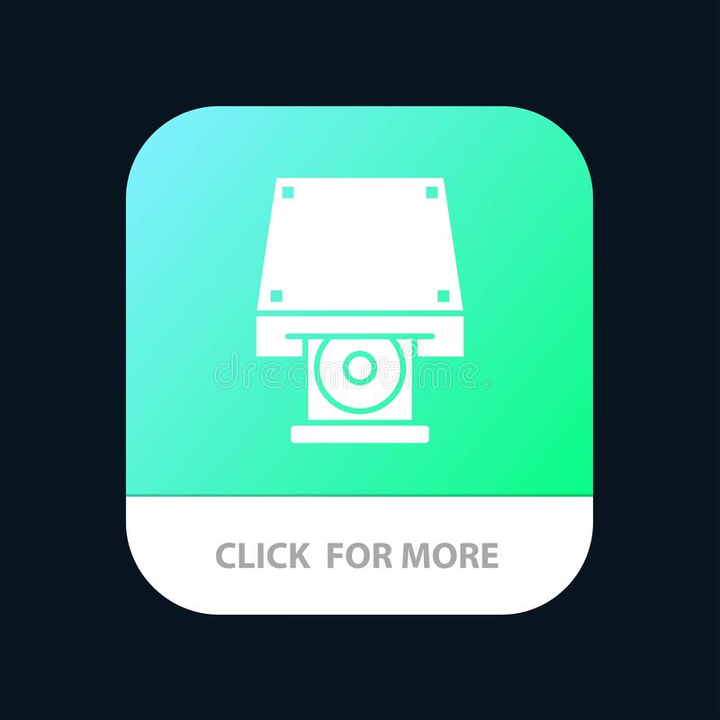 Dvd, CDROM, Data Storage, Disk, Rom Mobile App Button. Android and IOS Glyph Version royalty free illustration