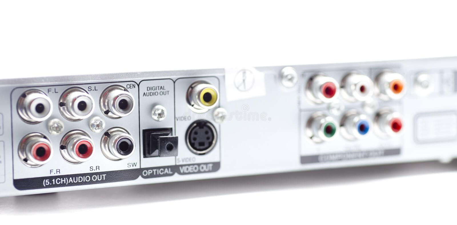 Dvd connections. RCA connectors for stereo audio and video stock photo