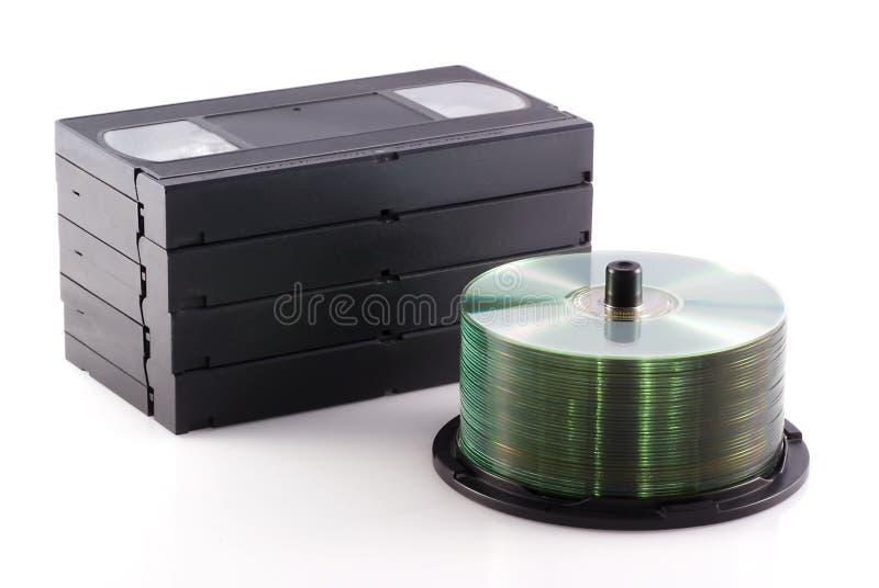 Dvd contra o vídeo. imagens de stock