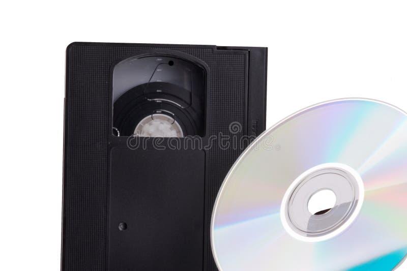 DVD contre la cassette vidéo image libre de droits