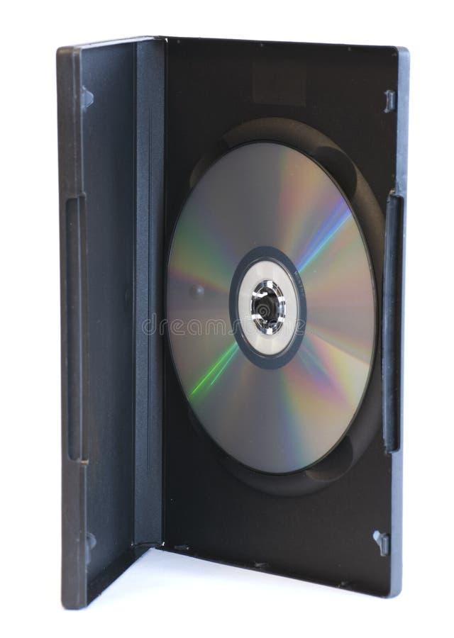 DVD-disco na caixa aberta no fundo branco imagem de stock royalty free