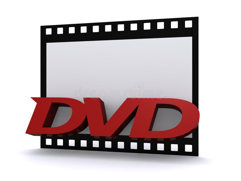 DVD Film. A 3D illustration of a DVD sign over a film, isolated on a white background royalty free illustration
