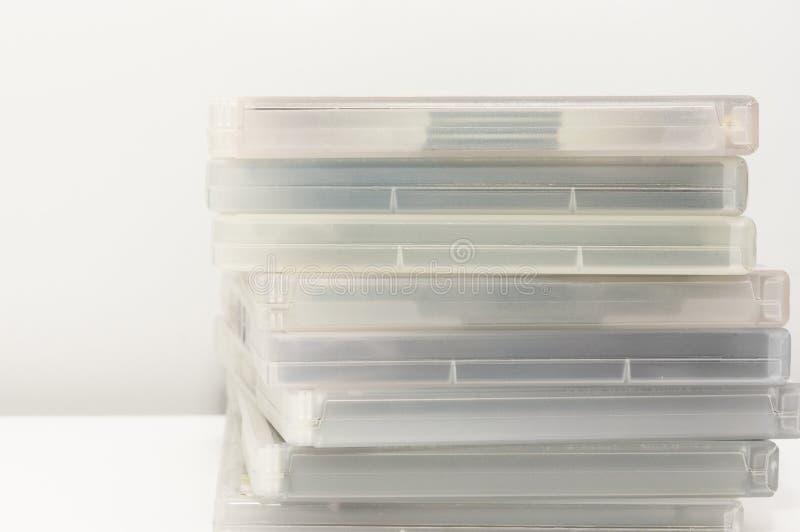 DVD-Gevallen op Oppervlakte worden gestapeld die royalty-vrije stock afbeeldingen
