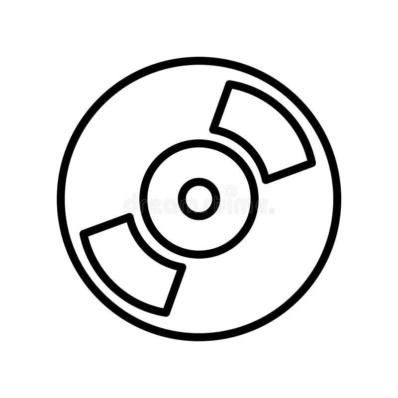 DVD-pictogramvector op witte achtergrond, DVD-teken, lijn wordt geïsoleerd die of vector illustratie
