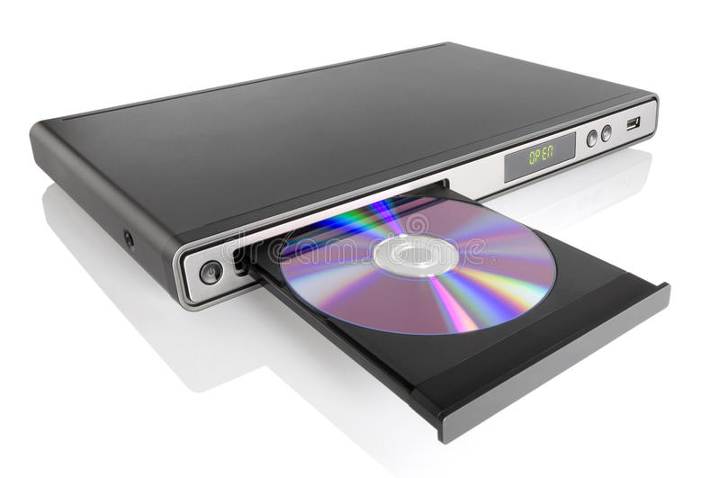 DVD player. Generic DVD CD MP3 JPEG player isolated on white stock photos