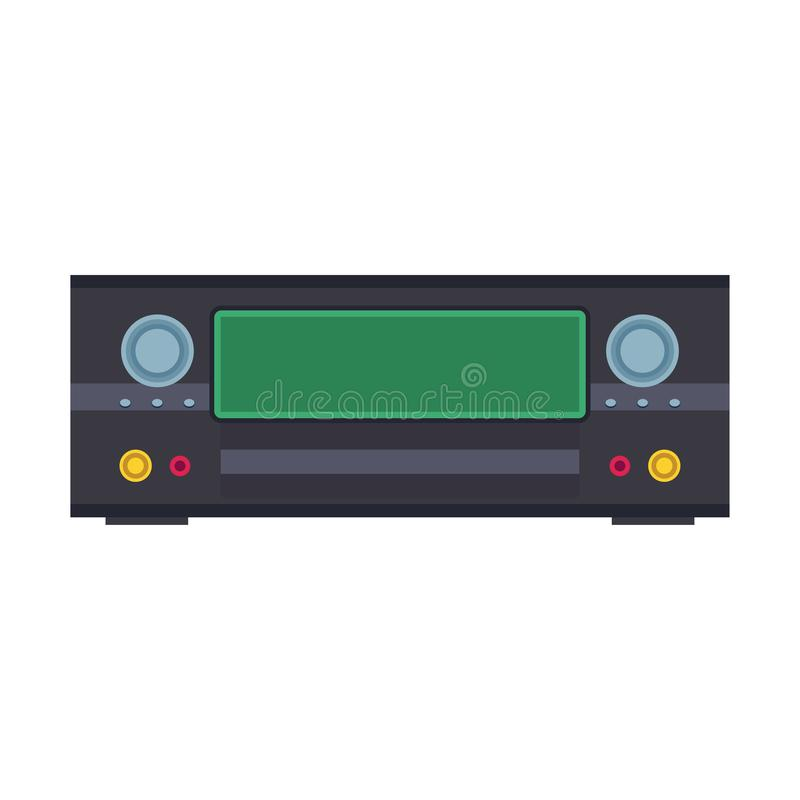 DVD player electronic illustration vector icon. Digital disc black equipment cinema and music. Video record control flat vector illustration