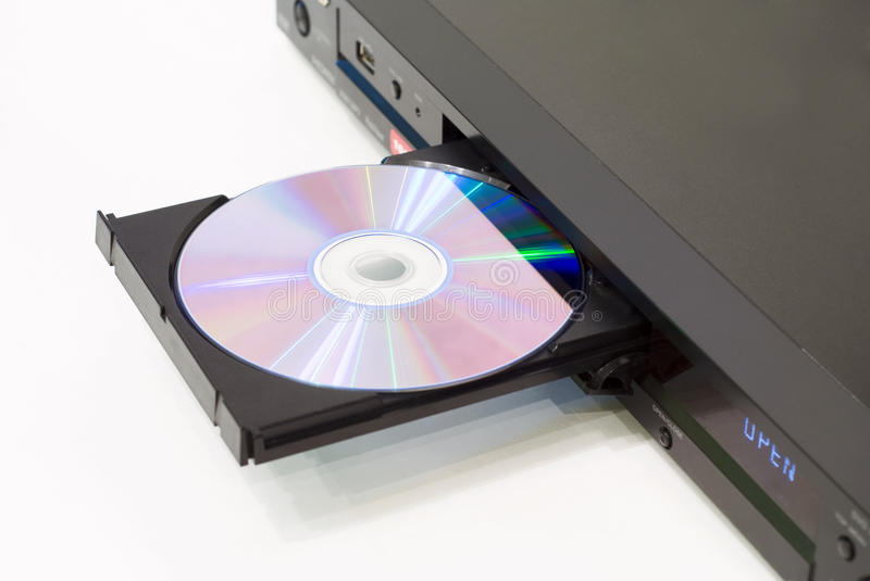 DVD player with an open tray. White background royalty free stock photography