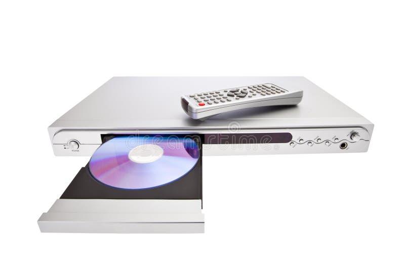 DVD-spelare som skjuter ut disketten med fjärrkontrollisola royaltyfri fotografi