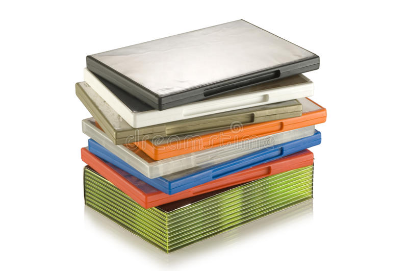 DVD video cases. A colorful plastic DVD video cases and boxed set royalty free stock images