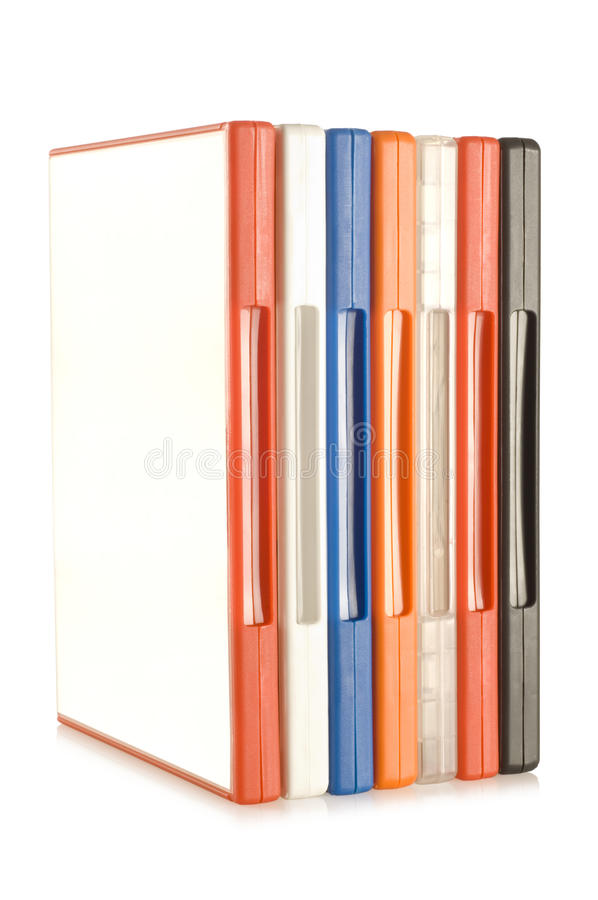 DVD video cases. A colorful plastic DVD video cases stock photos