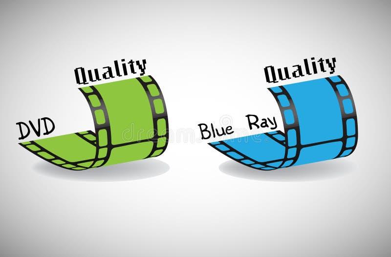 DVD y calidad azul del rayo ilustración del vector