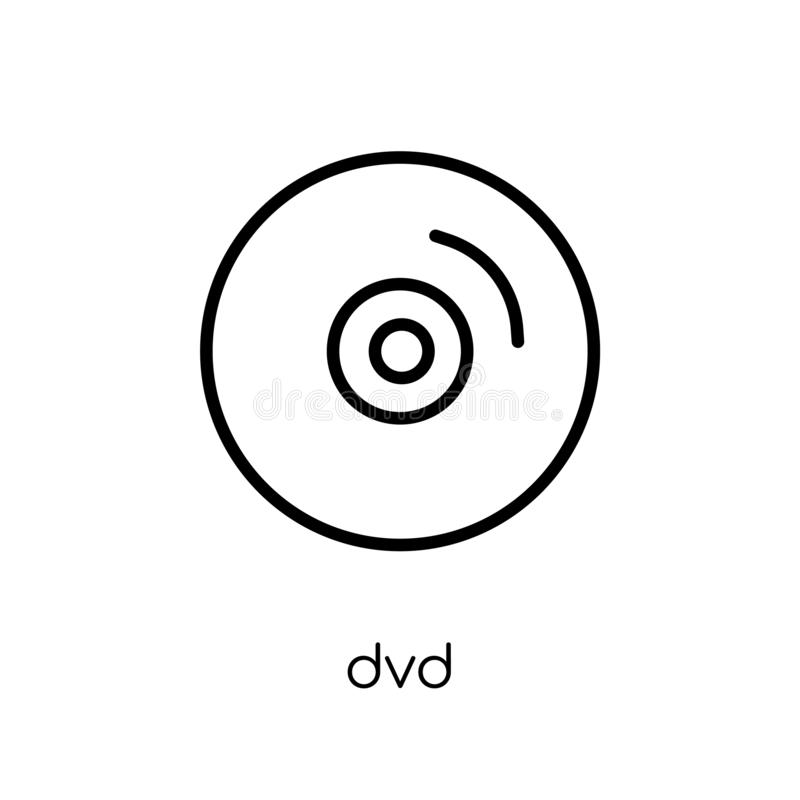 Dvdpictogram In modern vlak lineair vectordvd-pictogram op witte bac vector illustratie