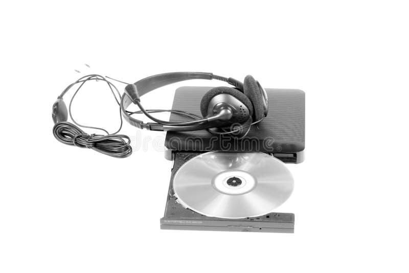Dvdspeler en hoofdtelefoons royalty-vrije stock afbeelding