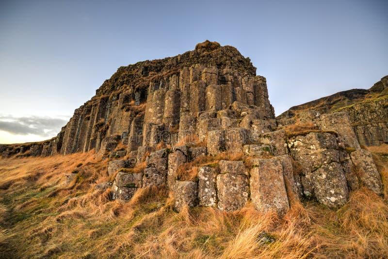 Dverghamrar basaltkolonner, Island fotografering för bildbyråer