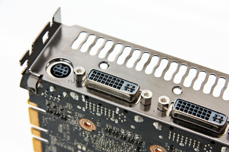 DVI connectors on a graphics card. Photo of the display connectors (DVI-I) on a graphics card royalty free stock images