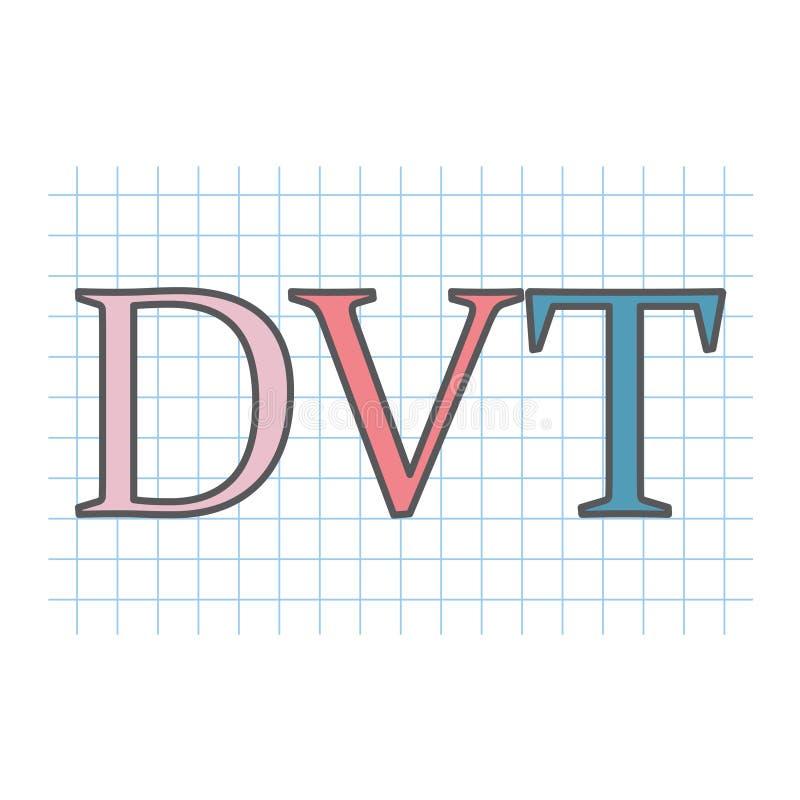 DVT Deep Vein Thrombosis acronym written on checkered paper. Sheet- vector illustration vector illustration