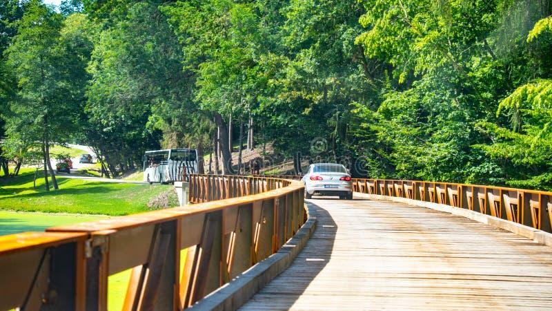 DVUR KRALOVE, CZECH REPUBLIC - AUGUST 18, 2019: Wild Safari Drive in Dvur Kralove ZOO, Czech Republic.  royalty free stock image