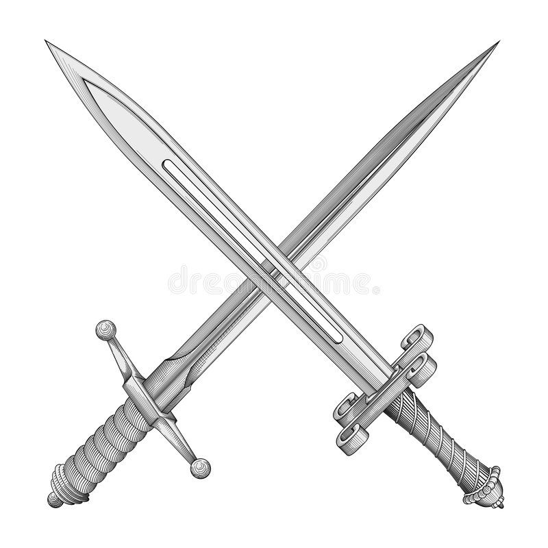 dwóch mieczy wektora ilustracji
