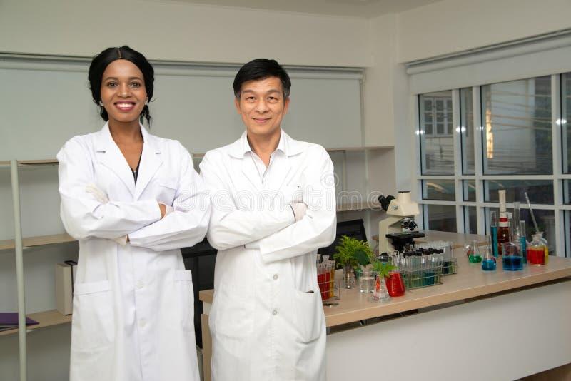 Dwóch naukowców noszących białą szatę pokazującą, że eksperyment zakończył się sukcesem zdjęcia stock