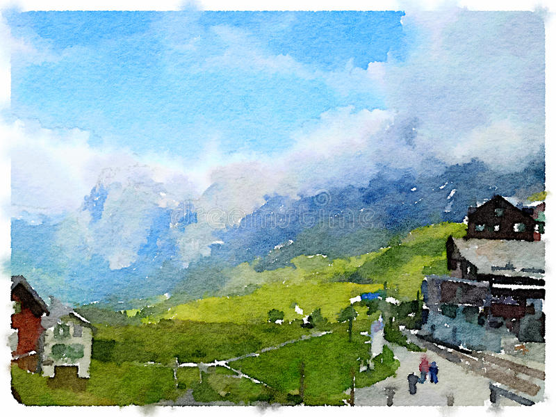 DW challet in the mountains 1. Digital watercolor painting of chalets in the mountains in Switzerland. With space for text royalty free stock photography