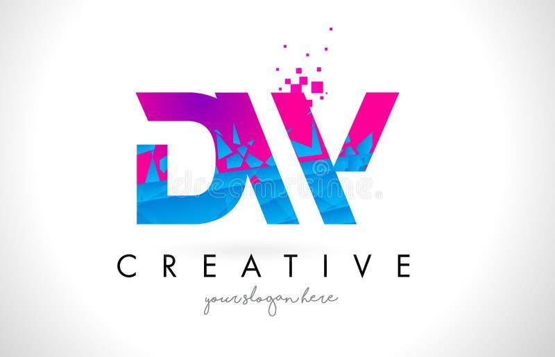 DW d W listu logo z Zniweczoną Łamającą błękit menchii teksturą Desig ilustracja wektor