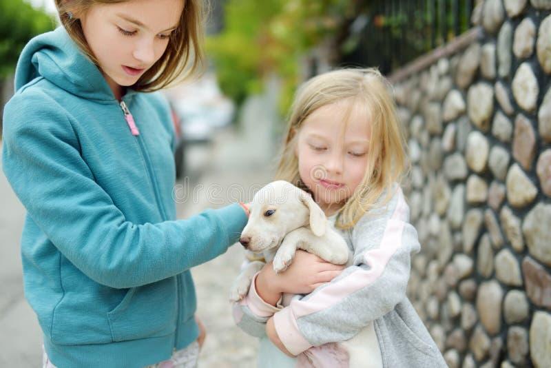 Dwa ślicznej młodej siostry trzyma małego białego szczeniaka outdoors Dzieciaki bawić się z dziecko psem na letnim dniu fotografia royalty free