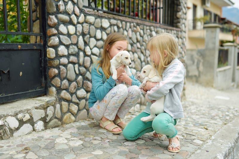 Dwa ślicznej młodej siostry trzyma małych białych szczeniaki outdoors Dzieciaki bawić się z dziecko psami na letnim dniu zdjęcie stock