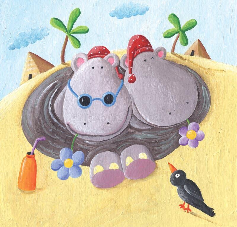 Dwa śmiesznego hipopotama na wakacjach w Egipt ilustracji