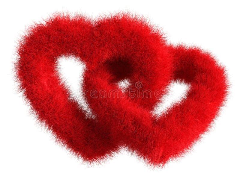 Dwa łączyli czerwonych pluszowych serca na białym tle - Odosobniony 3D Ponowny ilustracja wektor