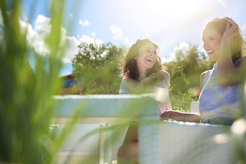 Dwa ładnej dziewczyny siedzi przy kawiarnia stołu śmiać się fotografia royalty free