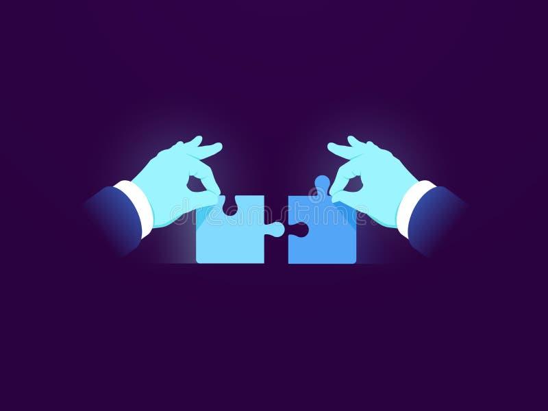 Dwa łamigłówka kawałka, zadania rozwiązania pojęcia biznesowa ikona, dwa części jeden cały, elegancki zarządzanie, pracuje wpólni ilustracji