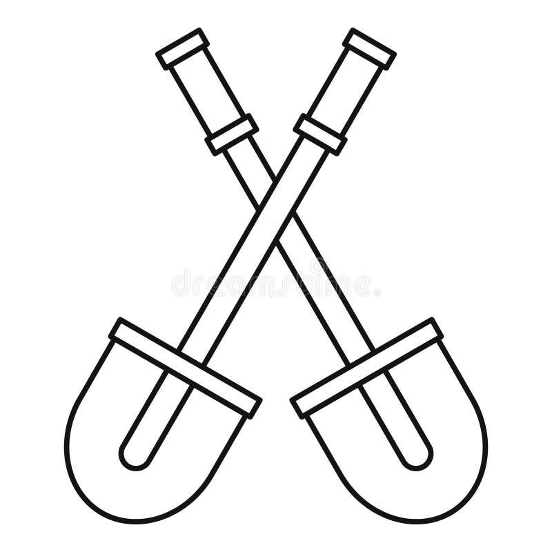 Dwa łopat ikona, konturu styl ilustracji