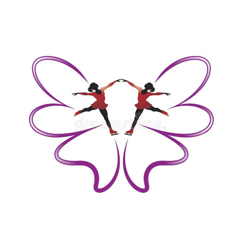 Dwa łyżwiarskiego motyla piórka i dziewczyny ilustracja wektor