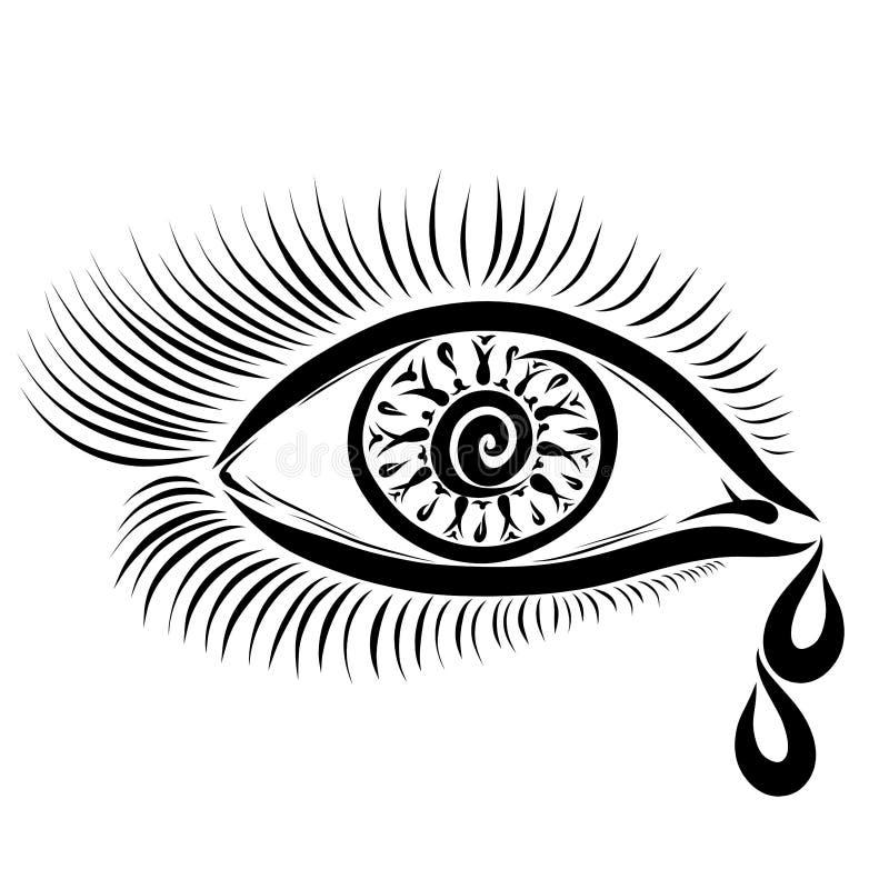 Dwa łzy płynie od żeńskiego oka royalty ilustracja