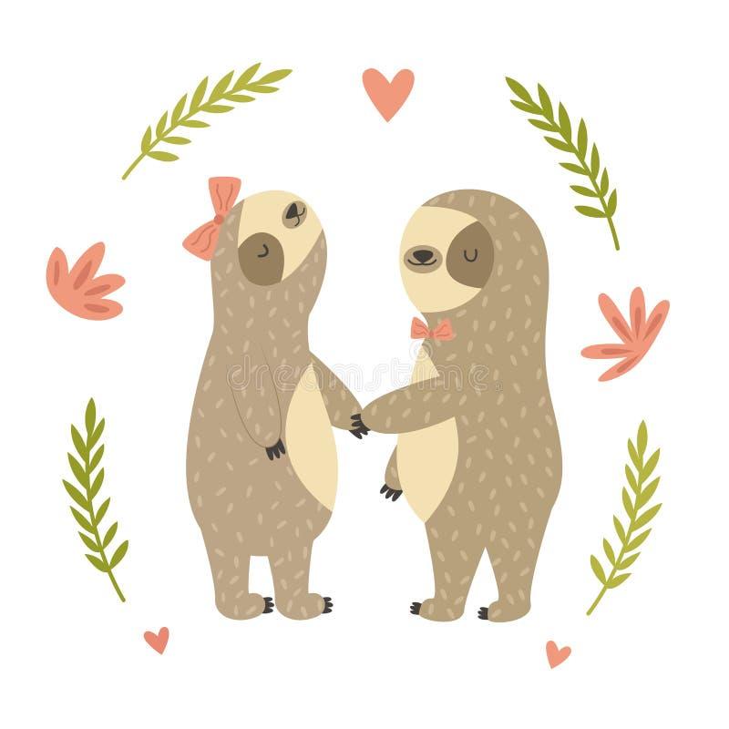 Dwa śliczna dancingowa opieszałość w miłości royalty ilustracja